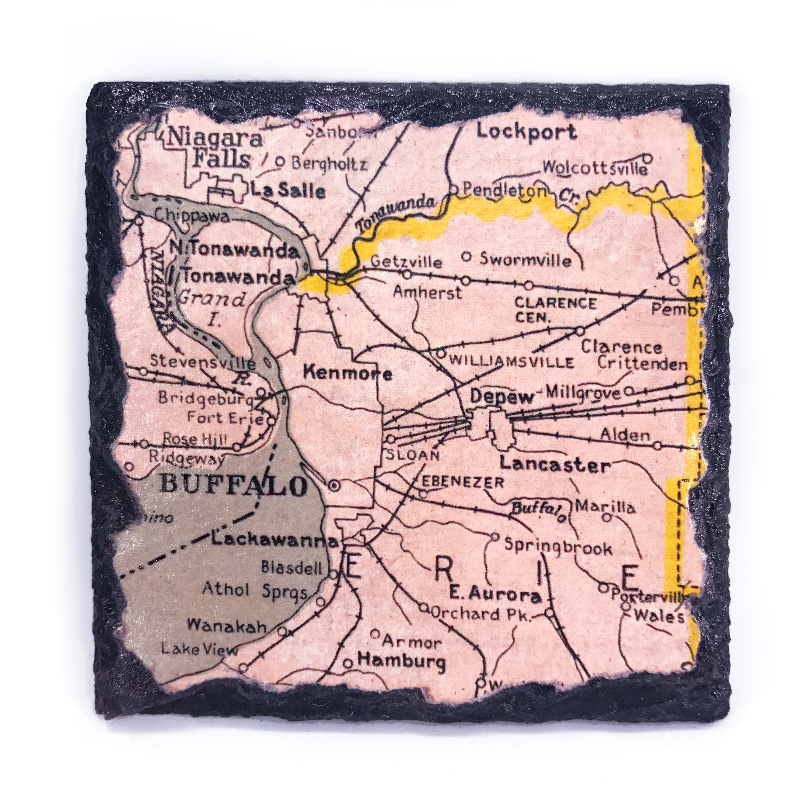 handmade buffalo map coaster