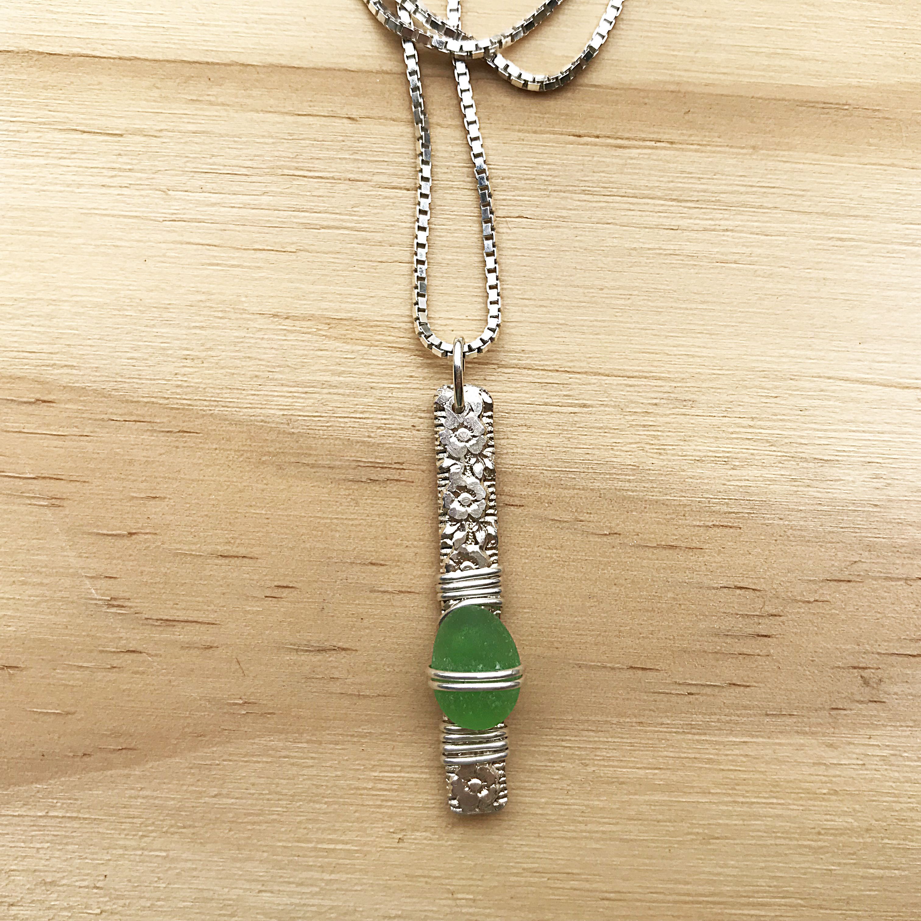 made in buffalo sea glass necklace