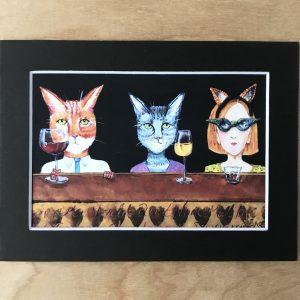 Cat art print wine wall decor made in buffalo new york