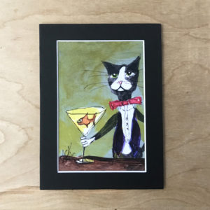 Cat art print Martini wall decor made in buffalo, ny