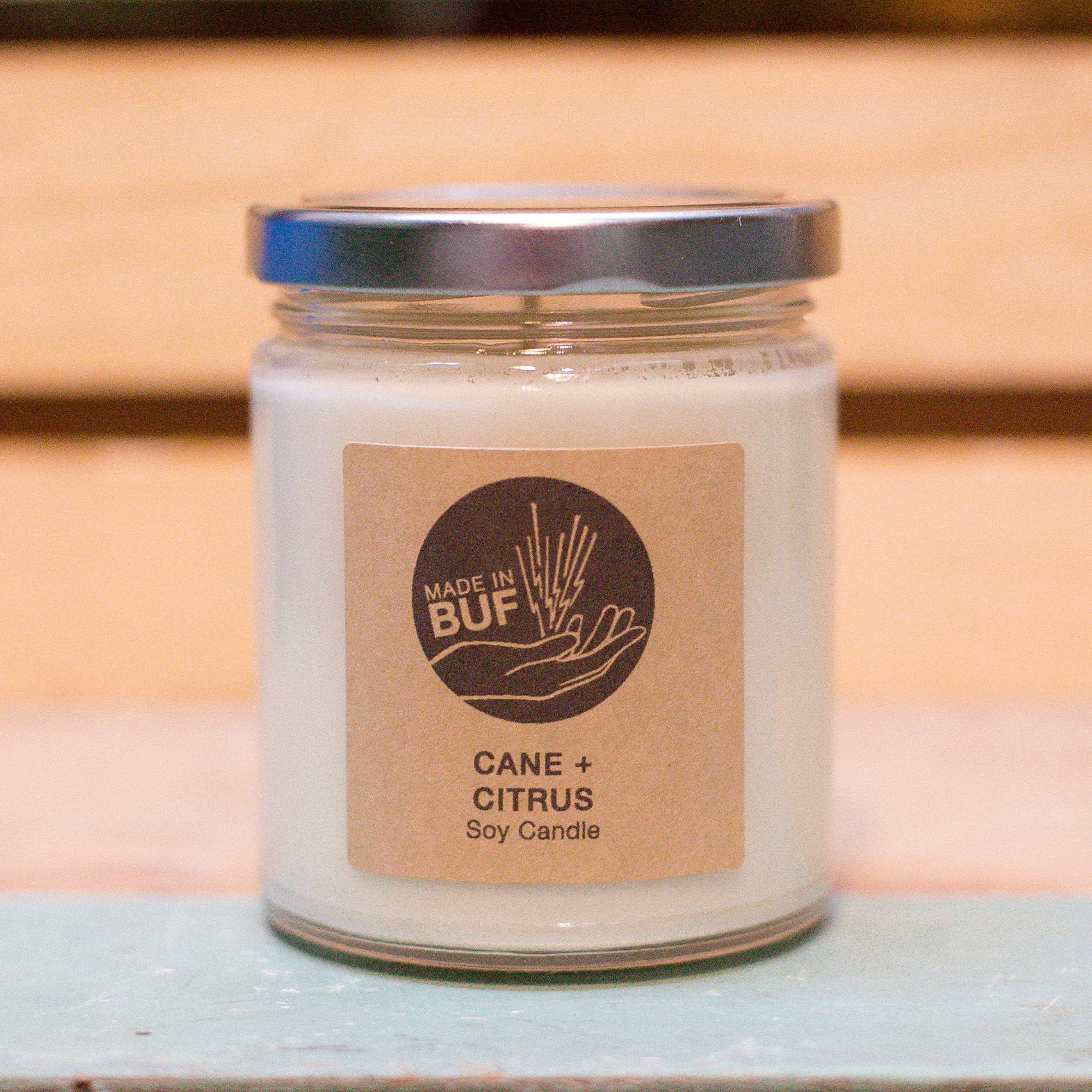 Cane and citrus soy candle made in buffalo ny