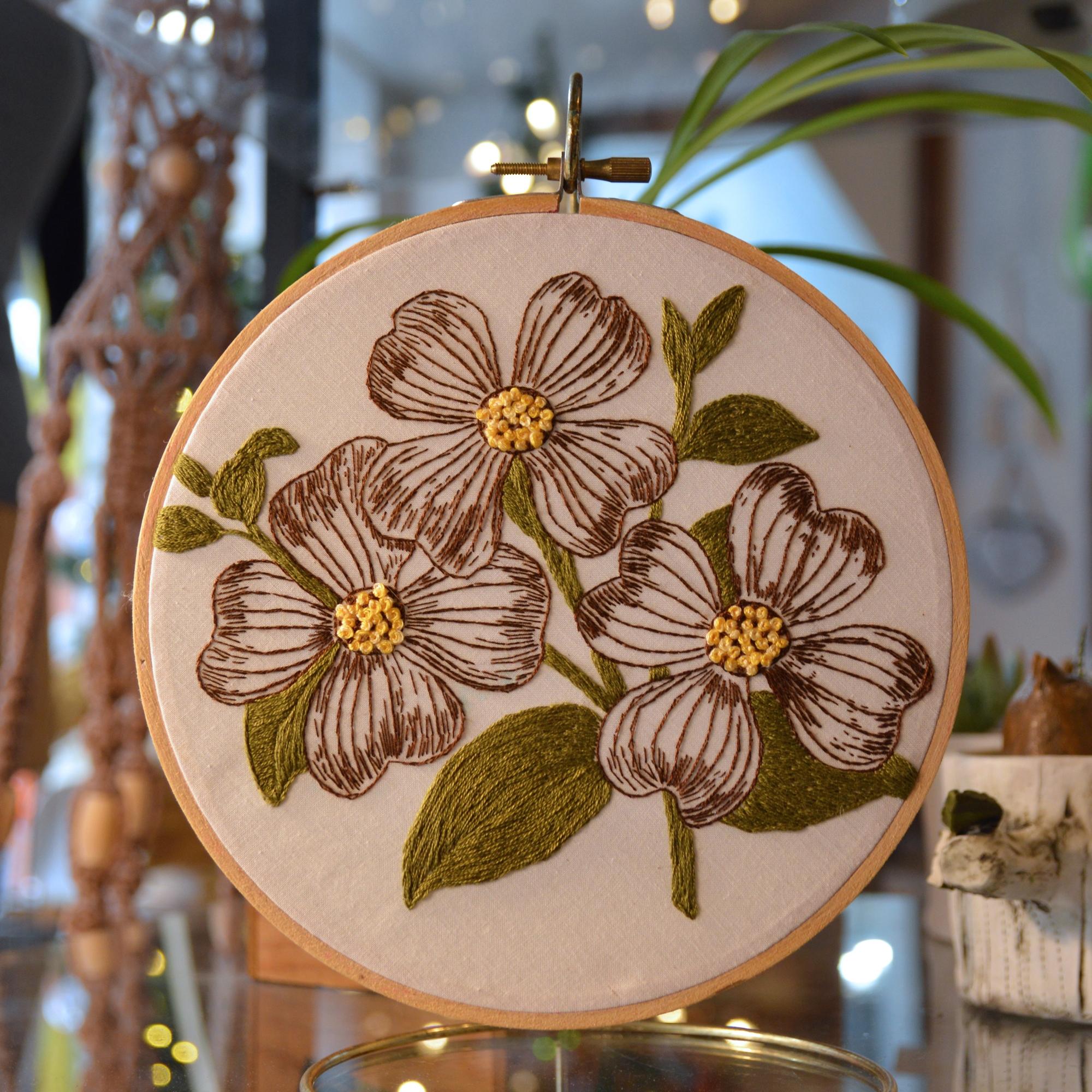 handmade embroidery dogwood made in buffalo