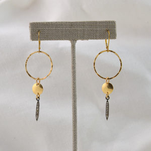 gold and pave diamond earrings made in buffalo ny gift shop