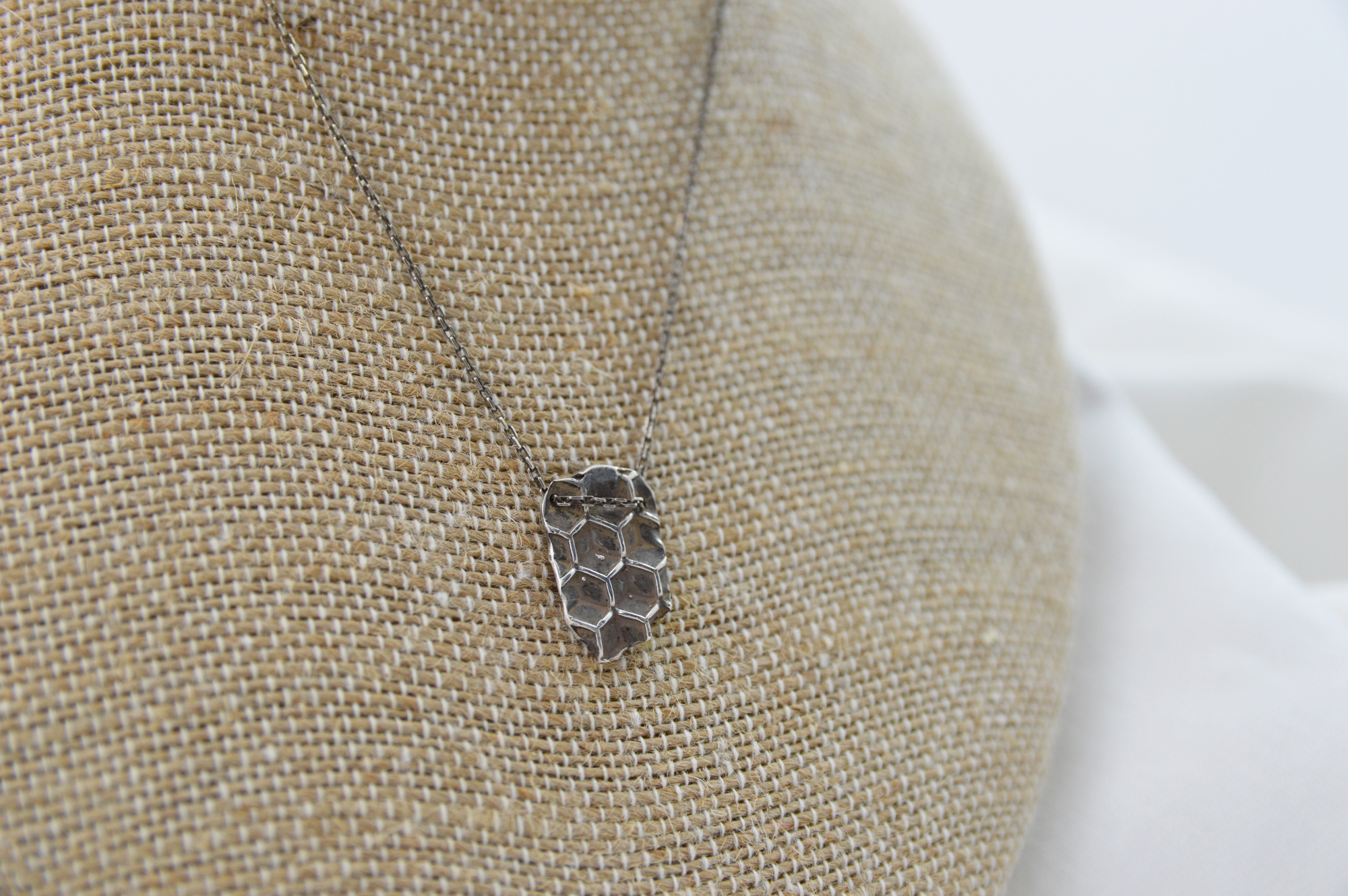 honeycomb bees wax imprint necklace sterling silver made in buffalo gift shop