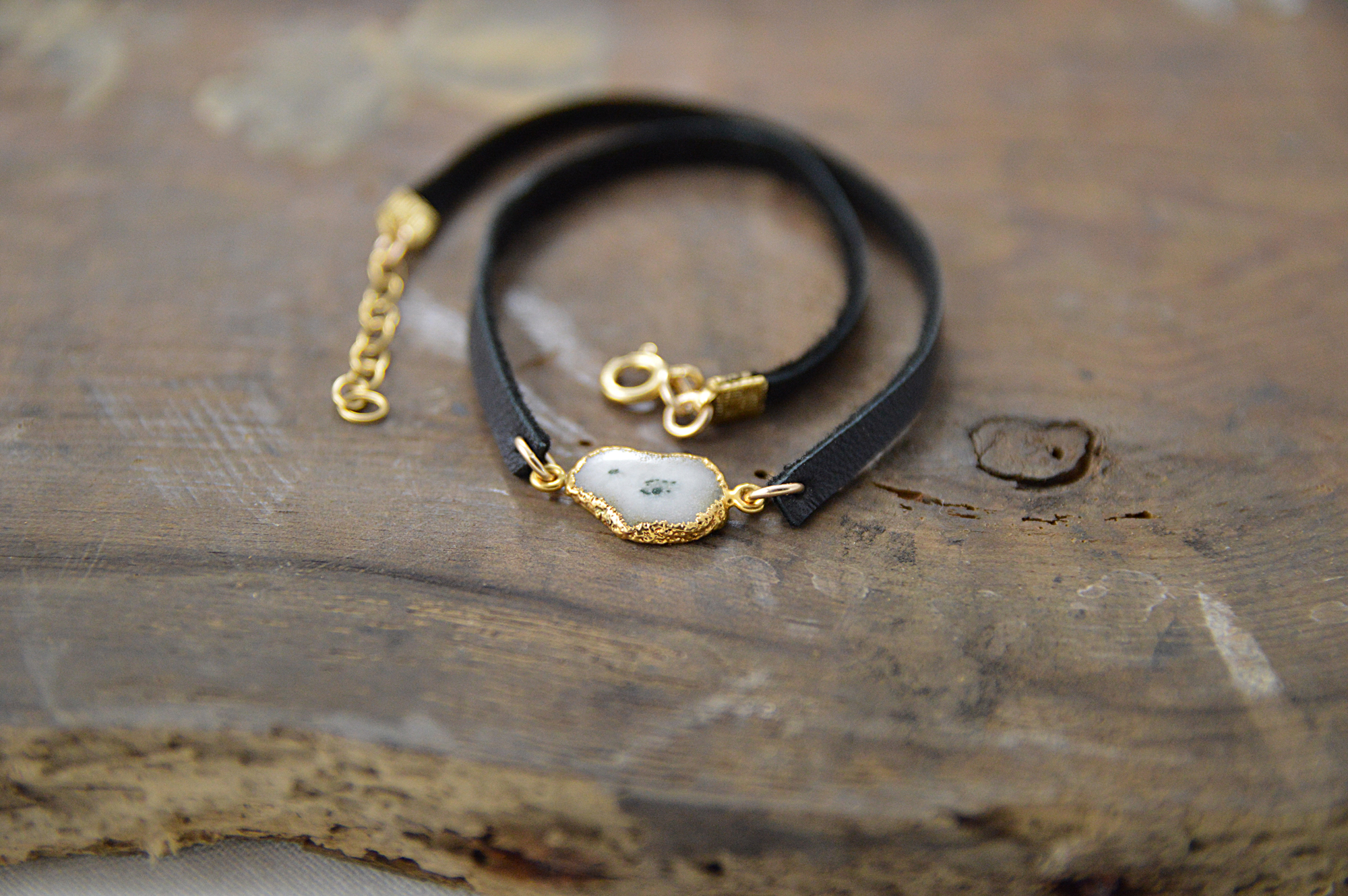 solar quartz leather bracelet choker made in buffalo ny gift shop