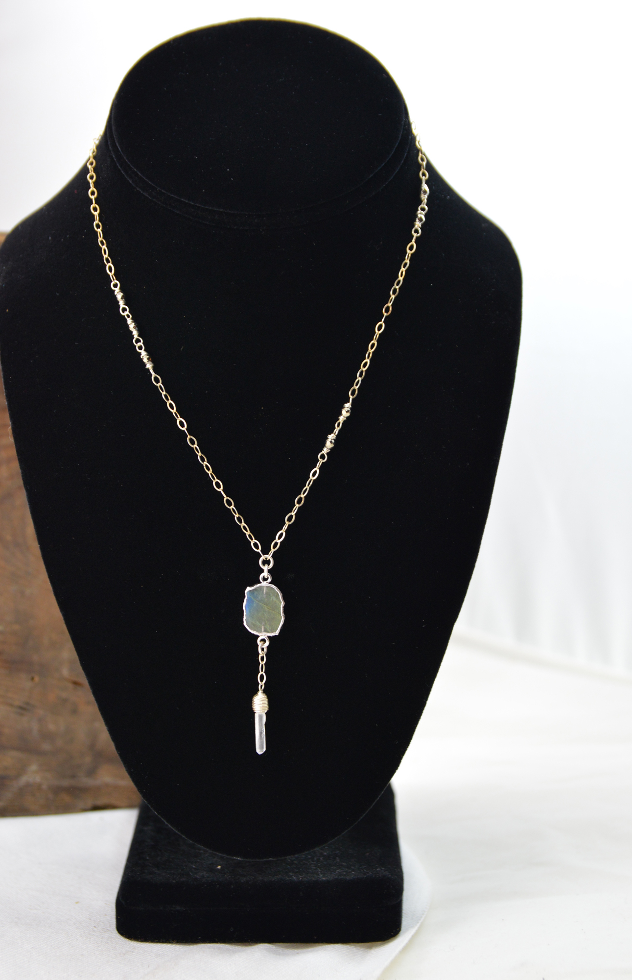 labradorite pyrite quartz necklace made in buffalo ny gift shop