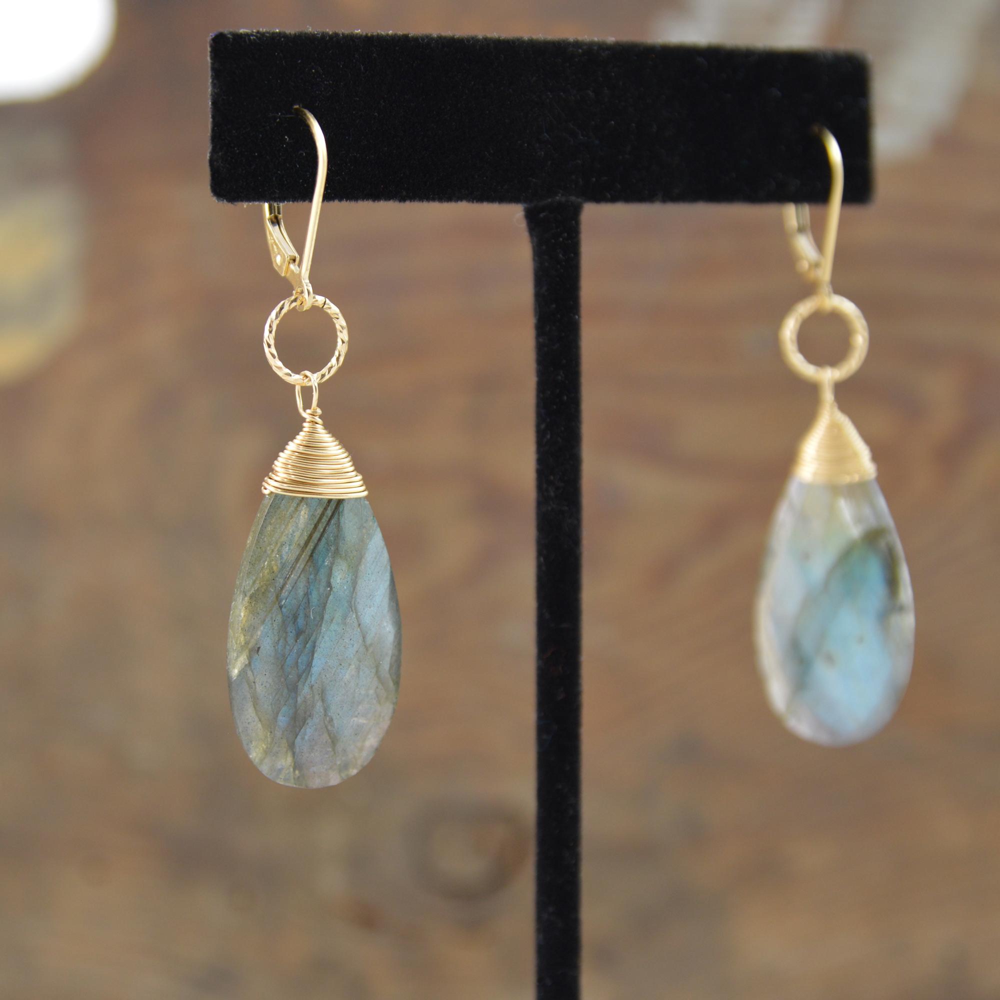 labradorite gold earrings made in buffalo ny gift shop