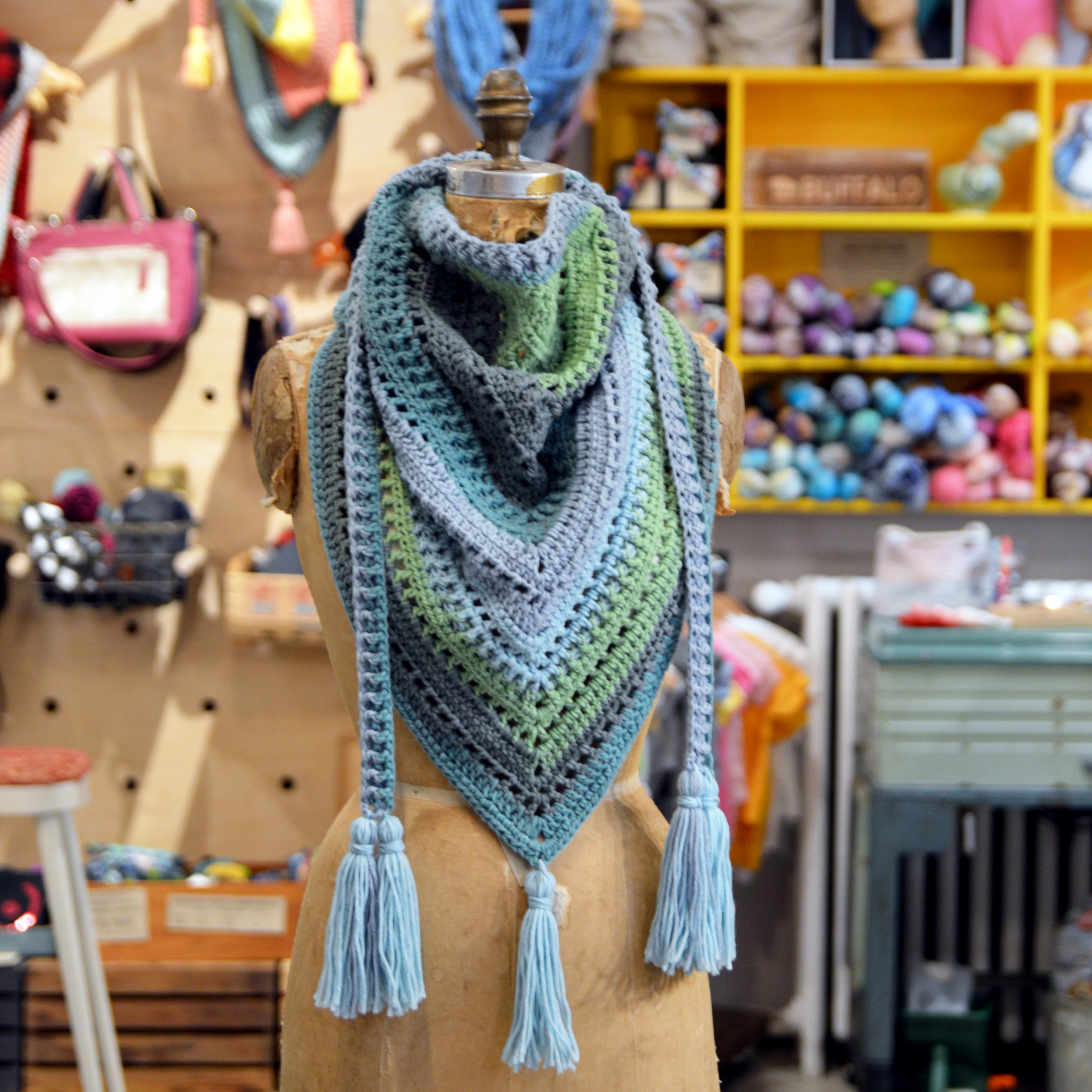 crocheted triangle scarf made in buffalo apparel