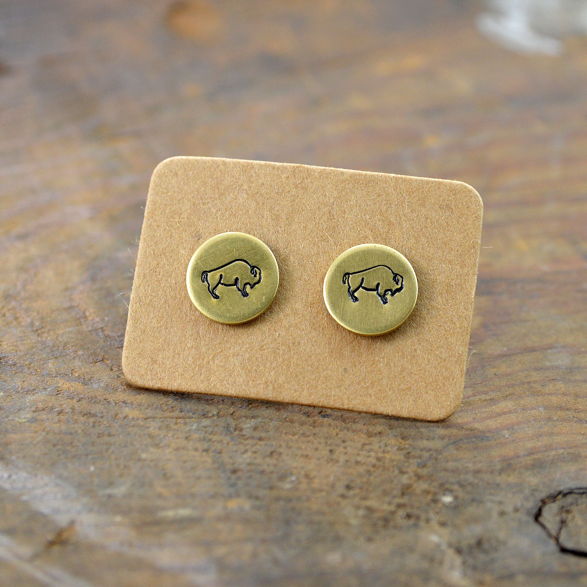 buffalo bison brass stud earrings made in buffalo ny gift ship