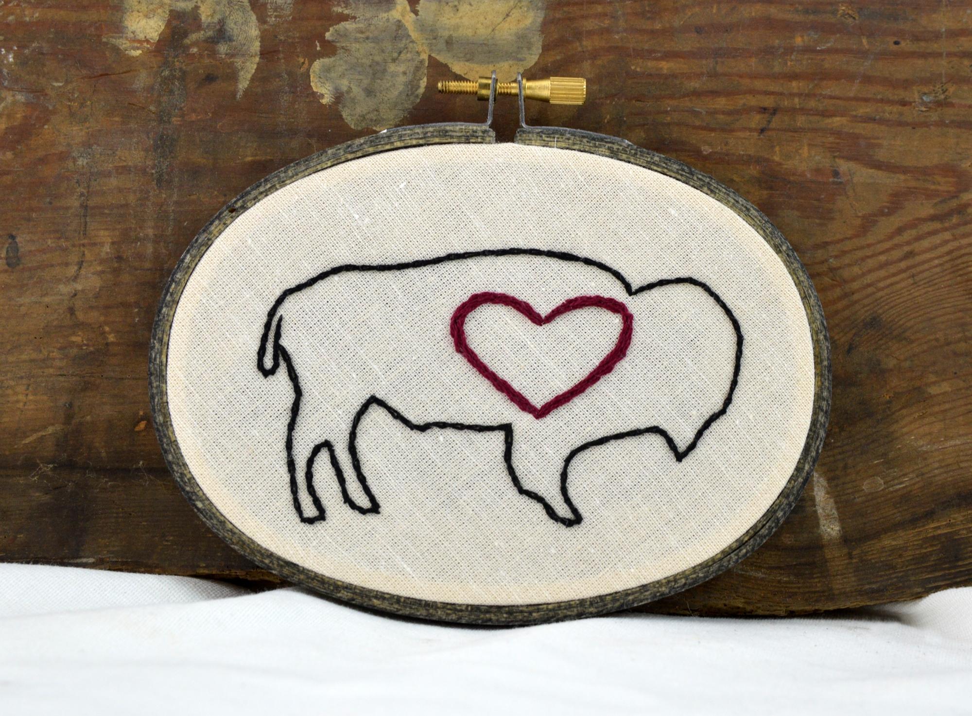 buffalo heart embroidery made in buffalo ny gift shop