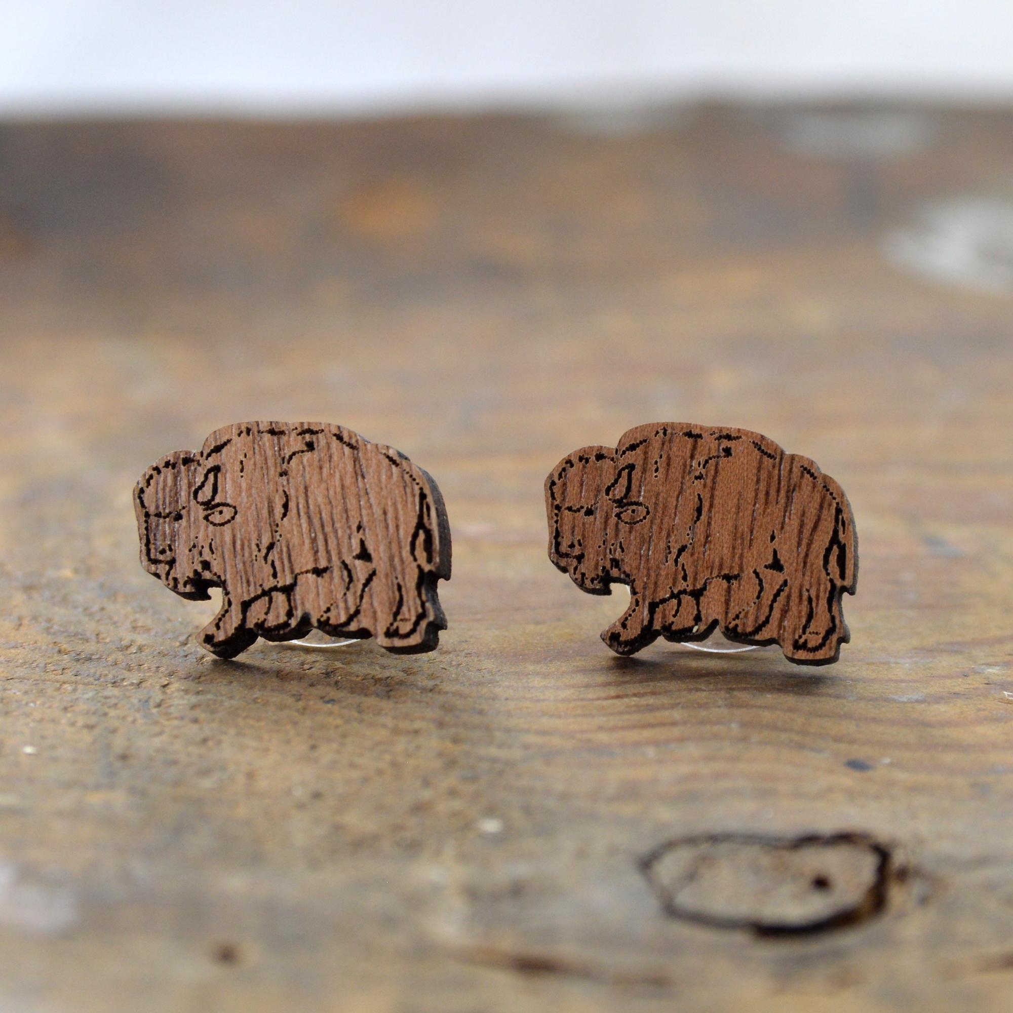 buffalo bison wood earrings made in buffalo ny gift shop