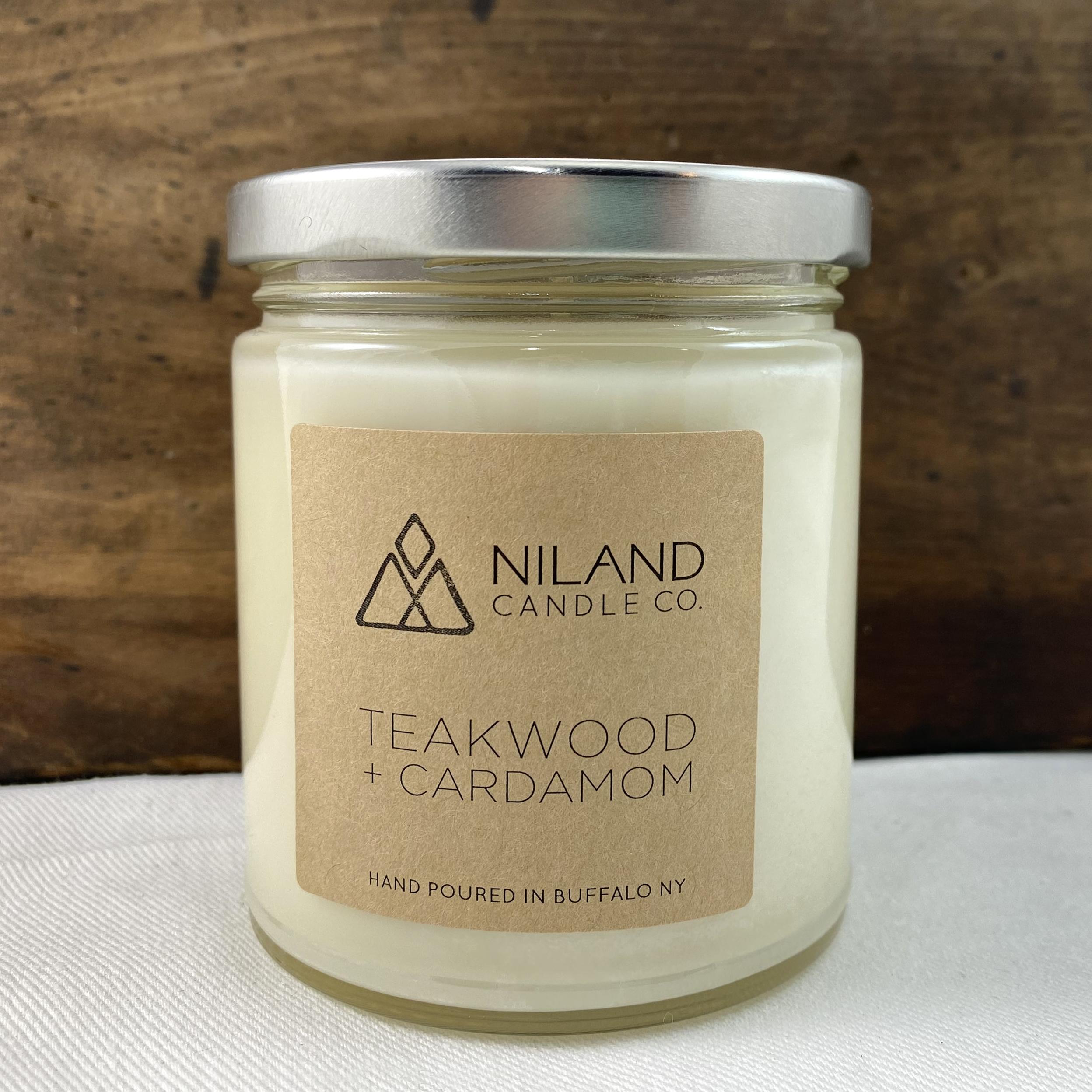 teakwood cardamom soy candle made in buffalo ny gift shop